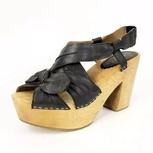 Anthro MISS ALBRIGHT Black Leather Twist Tie 6.5B